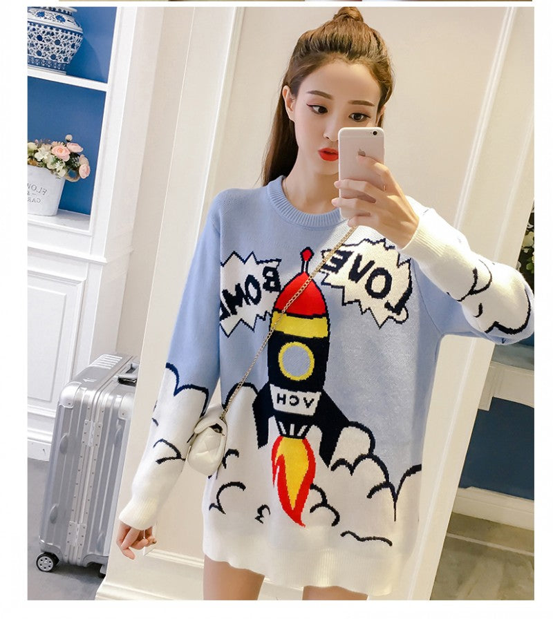 blue rocket ship boom boom sweater dress Spaceship shuttle intergalactic long sleeve warm winter wear cozy harajuku japan kawaii fashion by kawaii babe