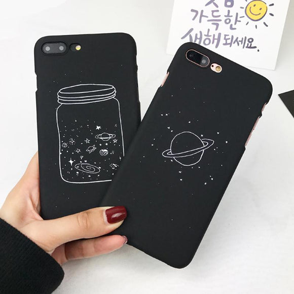 black space iphone phone case cover solar system planets saturn starry night sky jet black goth accessory by kawaii babe