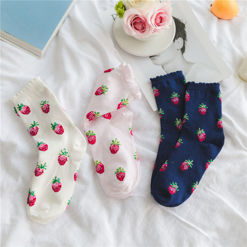 strawberry milk sweat socks ankle socks stockings pink harajuku japan kawaii fashion strawberries fruit pastel pink by kawaii babe