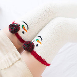 christmas snowman carrot nose holiday thigh high socks stockings knee socks tights furry fuzzy warm animal print striped winter wear by ddlg playground