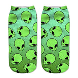 creepy cute alien et extraterrestrial socks ankle socks screen printed gothic hipster by kawaii babe