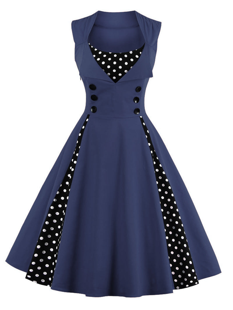 1950s pinup girl vintage navy blue dress vest vested polkadot flapper 50s retro pin up style by kawaii babe