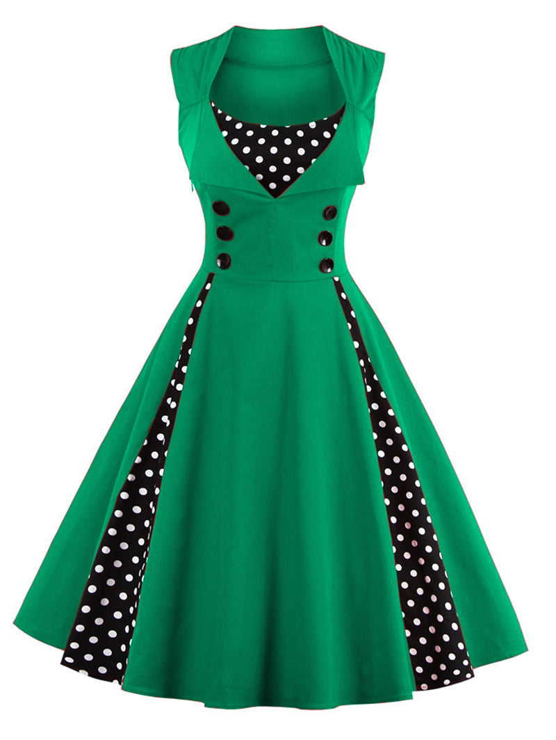 1950s pinup girl vintage green dress vest vested polkadot flapper 50s retro pin up style by kawaii babe