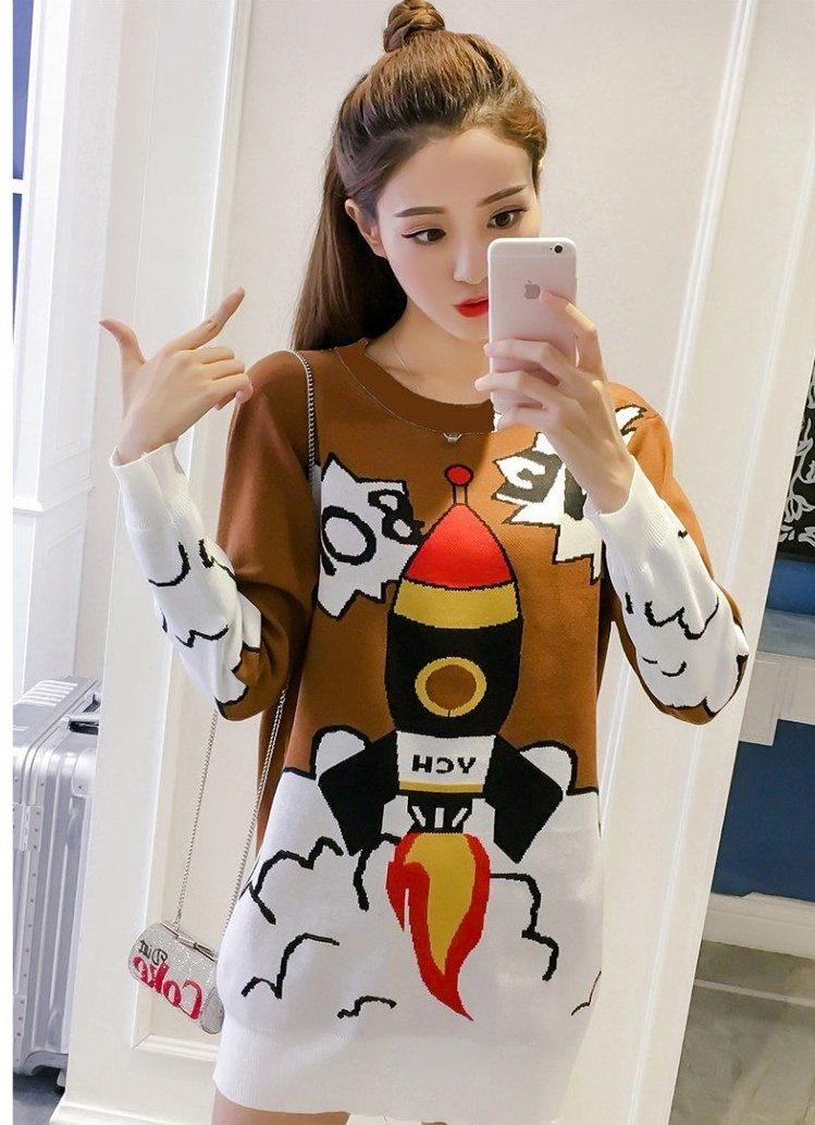 brown rocket ship boom boom sweater dress Spaceship shuttle intergalactic long sleeve warm winter wear cozy harajuku japan kawaii fashion by kawaii babe