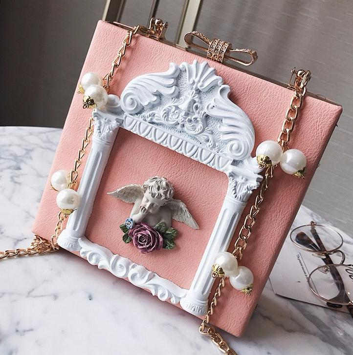 Elegant 3D Angel Handbag Victorian Vintage Aesthetic Pearls Mori Girl Lolita Fashion Style Purse Bag