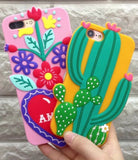 cactus flower iphone case 3d soft rubber phone protector cases covers plants floral cacti desert by kawaii babe