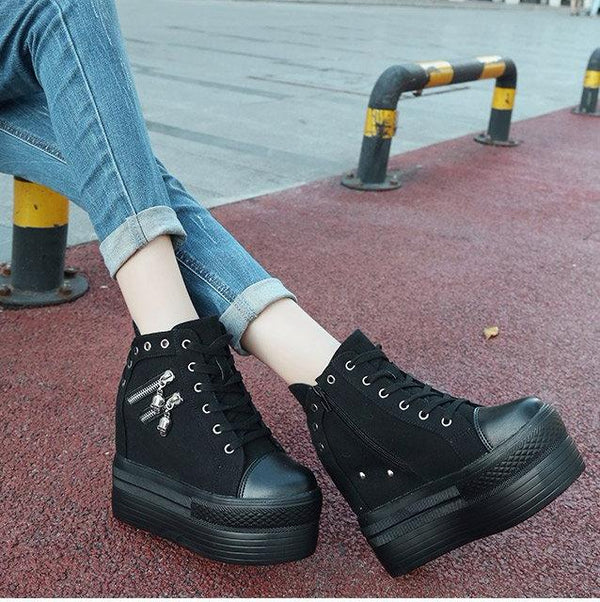 punk rock skull zipper shoes platform sneakers lace up athletic goth edgy fashion by kawaii babe