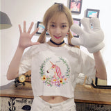 chic elegant floral unicorn crop top cropped tee belly t-shirt shirt white harajuku japan fashion by kawaii babe