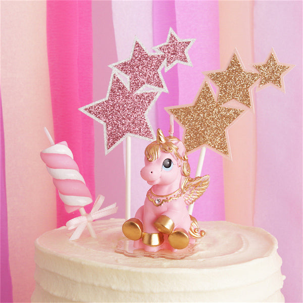 golden pink unicorn pegasus birthday cake candle stick wax figurine kitsch kawaii cake decorating decor baby shower by kawaii babe