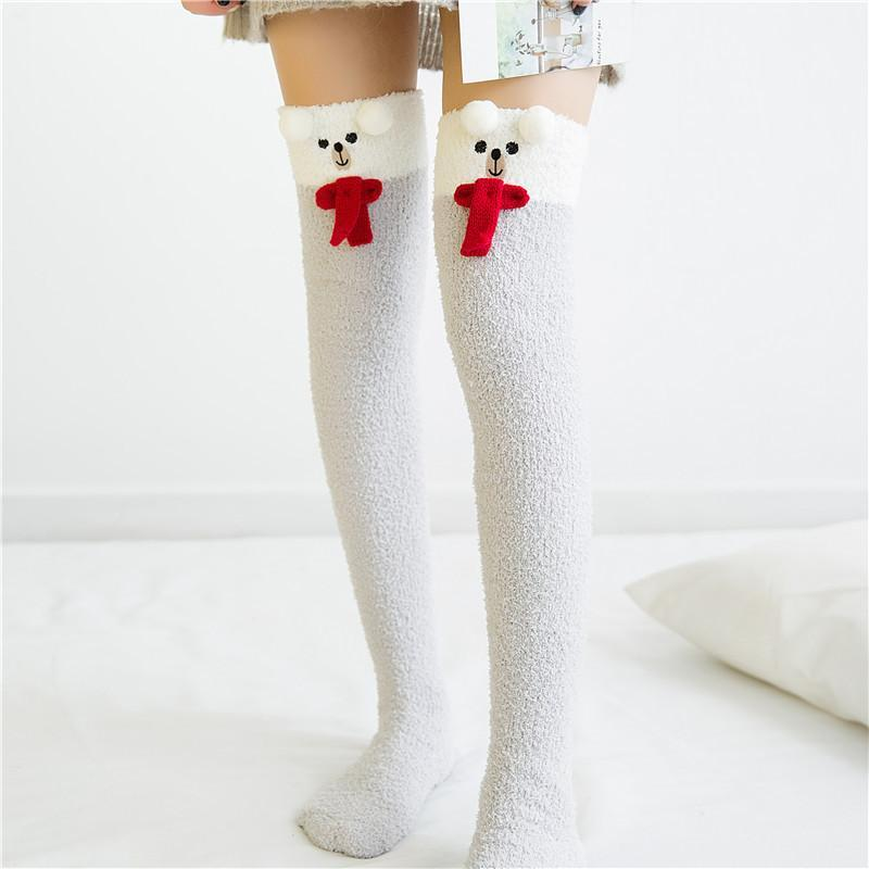 christmas snowman holiday thigh high socks stockings knee socks tights furry fuzzy warm animal print striped winter wear by ddlg playground