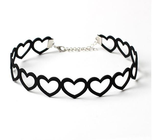black gothic heart choker necklace leash collar goth fashion black heart kawaii babe
