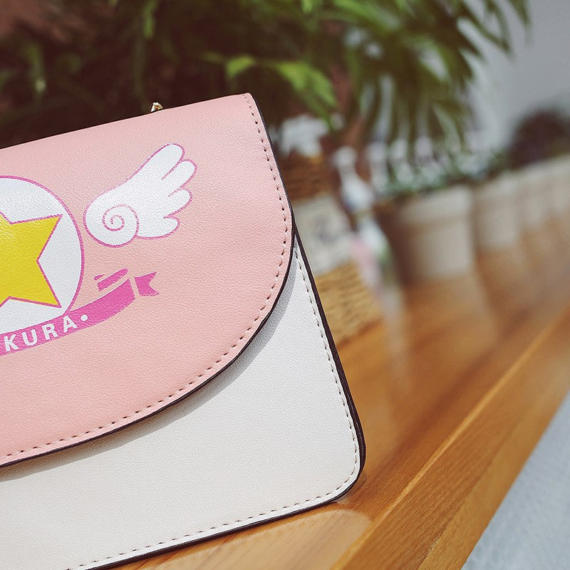 magical girl card captor sakura purse handbag messenger bag snap magnetic closure gold chain harajuku japan anime fashion by kawaii babe