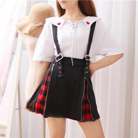zipper tartan plaid punk rock suspender skirt gothic lolita fashion belted buckle straps overalls coveralls harajuku japan fashion by Kawaii Babe