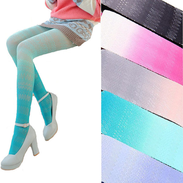 ombre gradient color lace tights pantyhose leggings candy color lolita fairy kei fashion harajuku japan korean see through pants by kawaii babe