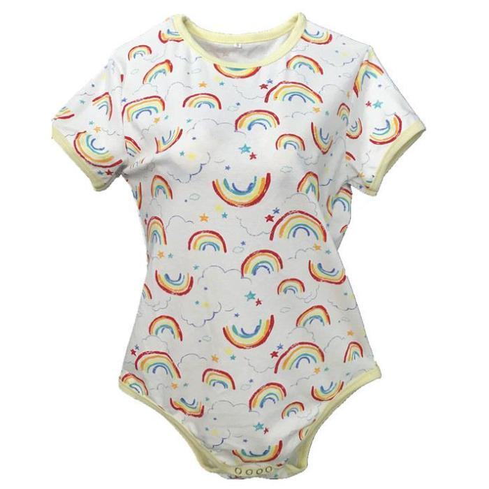 rainbow crayon artwork adult onesie jumper bodysuit one piece snap crotch romper abdl cgl ddlg kink fetish by kawaii babe