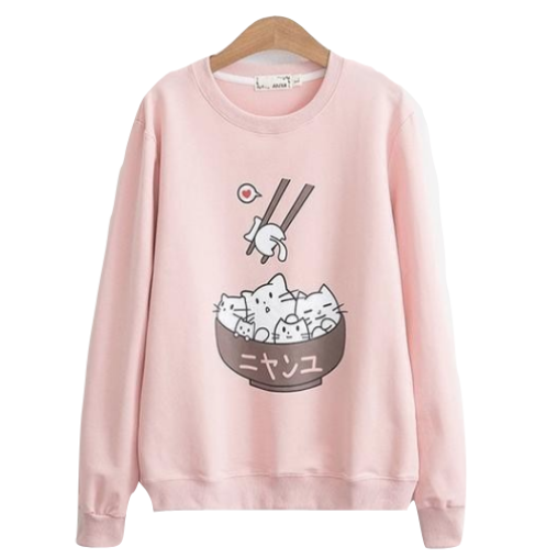 Kawaii Pink Kitty Cat Kitten Rice Bowl Crewneck Sweatshirt Sweater Sushi Japan Harajuku Fashion