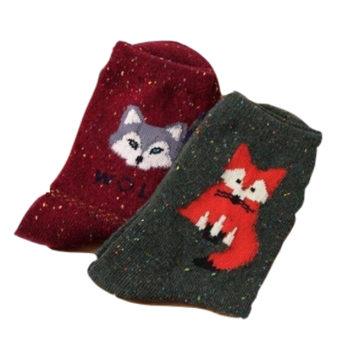 Snowy Little Fox Socks