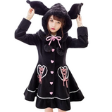 Black Kuromi Bunny Rabbit Dress Coat Sweet Lolita Kawaii Fashion Vegan Fur