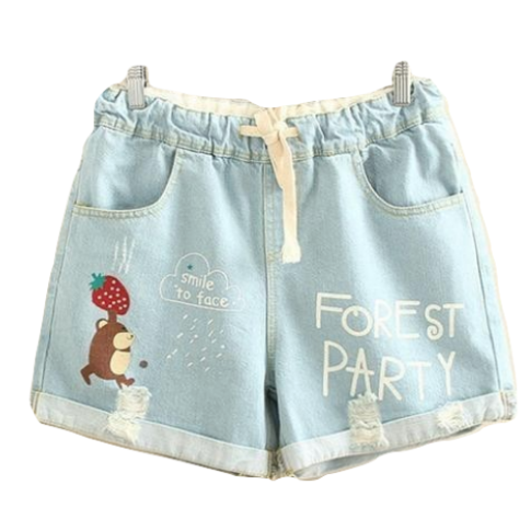 Forest Party Squirrel Strawberry Jean Shorts Denim Mori Girl Style Youthful Young