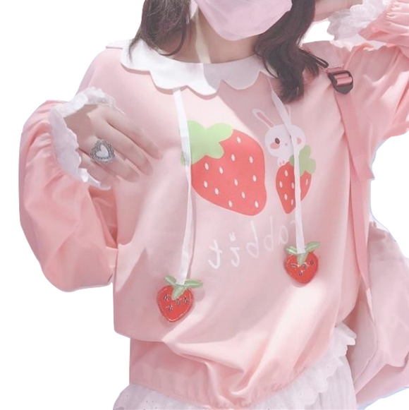 Strawberry Bunny Rabbit Pink Lolita Sweater Pullover Sweatshirt Kawaii Fashion Youthful Young