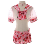 Sweet Strawberry Lingerie School Girl Outfit Cosplay Sexy Pleated Skirt & See Through Top