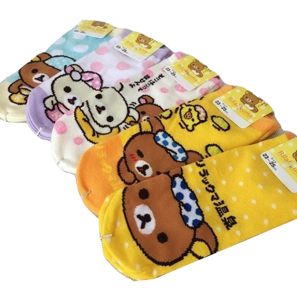 Kawaii Rilakkuma Bear Ankle Socks Cute San-x Teddy Bear Character Harajuku