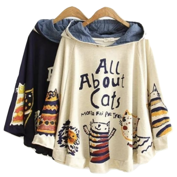 All About Cats Poncho Cape Hoodie Jacket Sweater Vintage Mori Girl Style