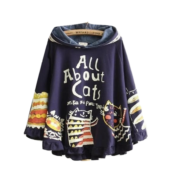 Navy Blue All About Cats Poncho Cape Hoodie Jacket Sweater Vintage Mori Girl Style
