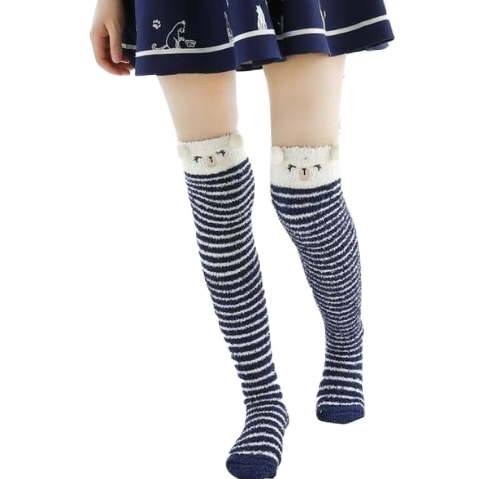 Navy Bear Thigh Highs
