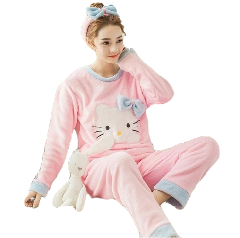 Kawaii Soft Pajama Set Cute Soft Fuzzy Flannel Furry PJS Set