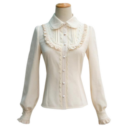 Traditional Lolita Collar Blouse Long Sleeve Peter Pan Button Up EGL Classic Lolita Girl Fashion