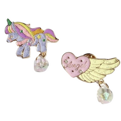 Jeweled Unicorn & Heart Pins