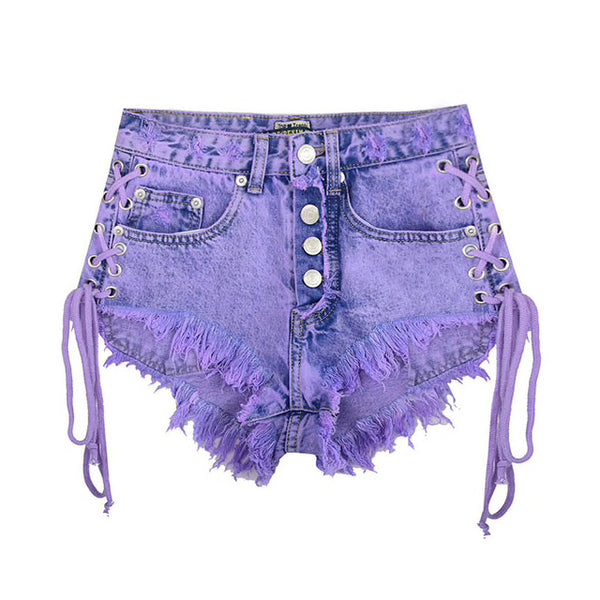 Purple Corset Jean Shorts