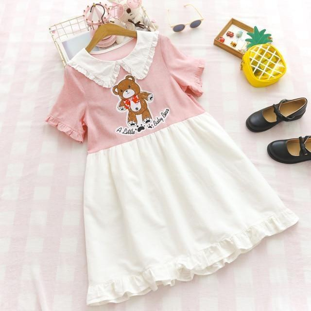A Little Baby Bear Dress - Pink Dress - dress