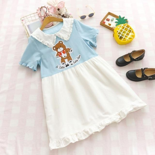 A Little Baby Bear Dress - Sky Blue Dress - dress