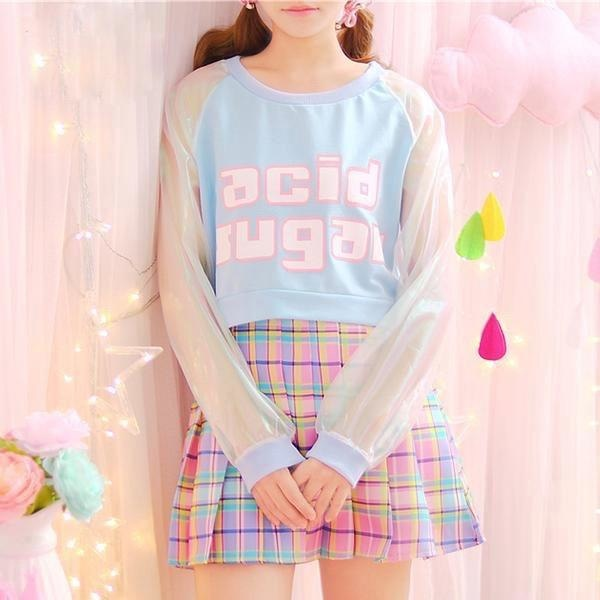 acid sugar holographic crop top cropped sweater short rainbow reflective fairy kei pastel psychedelic harajuku fashion by kawaii babe