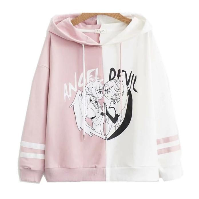 Angel vs Devil Hoodie - Pink & White / L - sweater