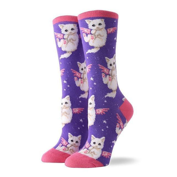 Angelic Kitten Socks - Purple Flying Kitten - socks
