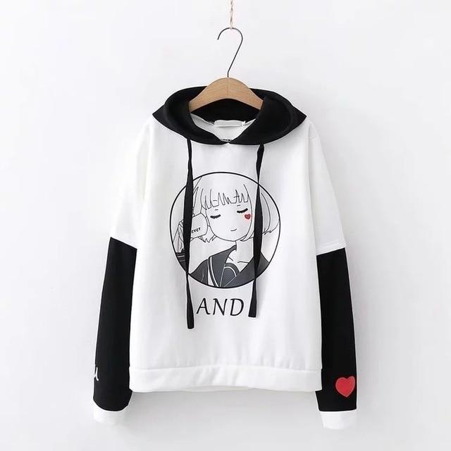 Anime Girl Hoodie - White - sweater