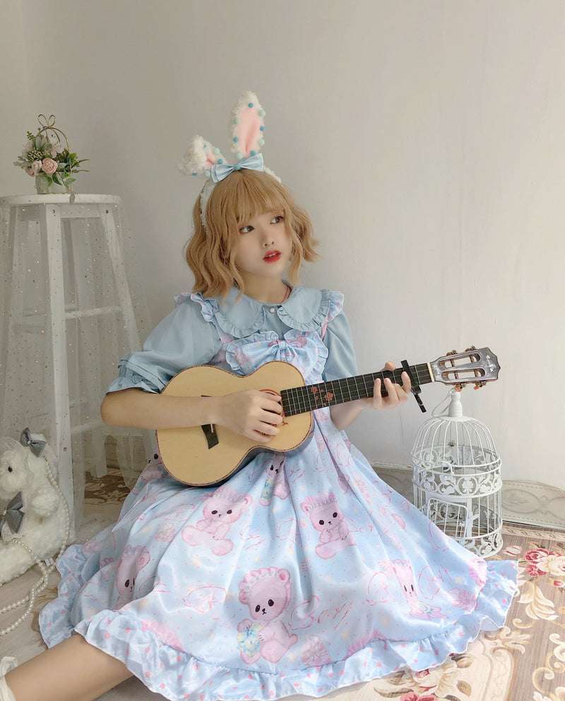Baby Angel Bear Lolita Dress - Blue - angel bear, angels, bear dress, clothes, clothing