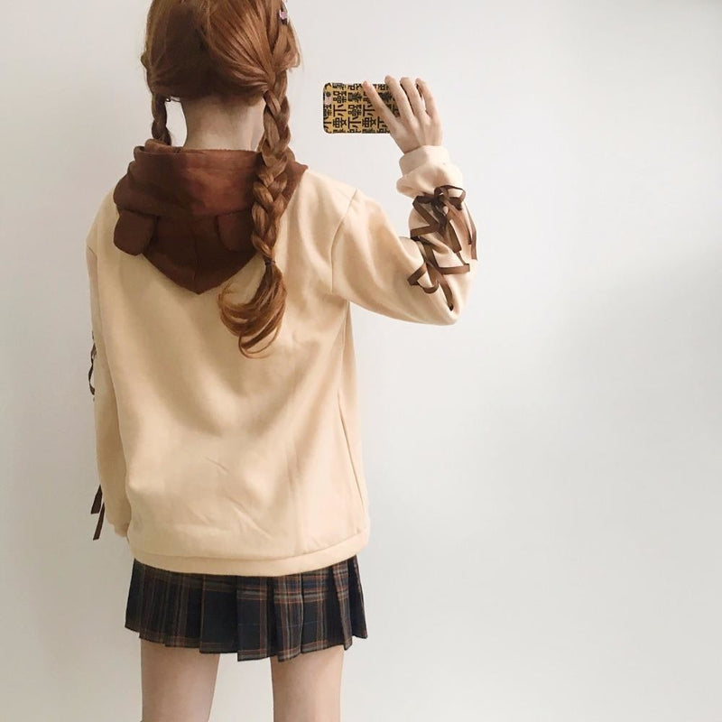 brown baby bear hoodie corset lace up arms sweater mori girl fashion harajuku japan dd/lg dd lg littlespace youthful young girl cgl abdl hoodie sweater sweatshirt
