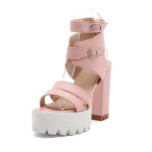 baby doll chunky high heels block heel sandals strappy buckles pastel pink kawaii fashion fetish kink by ddlg playground