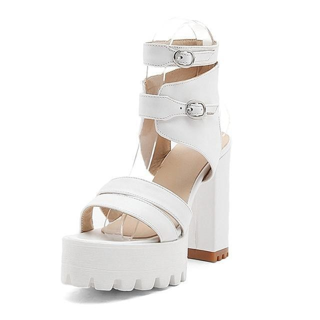 baby doll chunky high heels block heel sandals strappy buckles white kawaii fashion fetish kink by ddlg playground