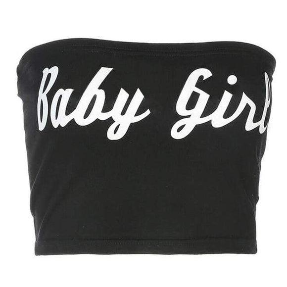 Black Baby Girl Tube Top Cropped Shirt Boob Tube ABDL CGL Little Girl MDLG Babygirl Cute