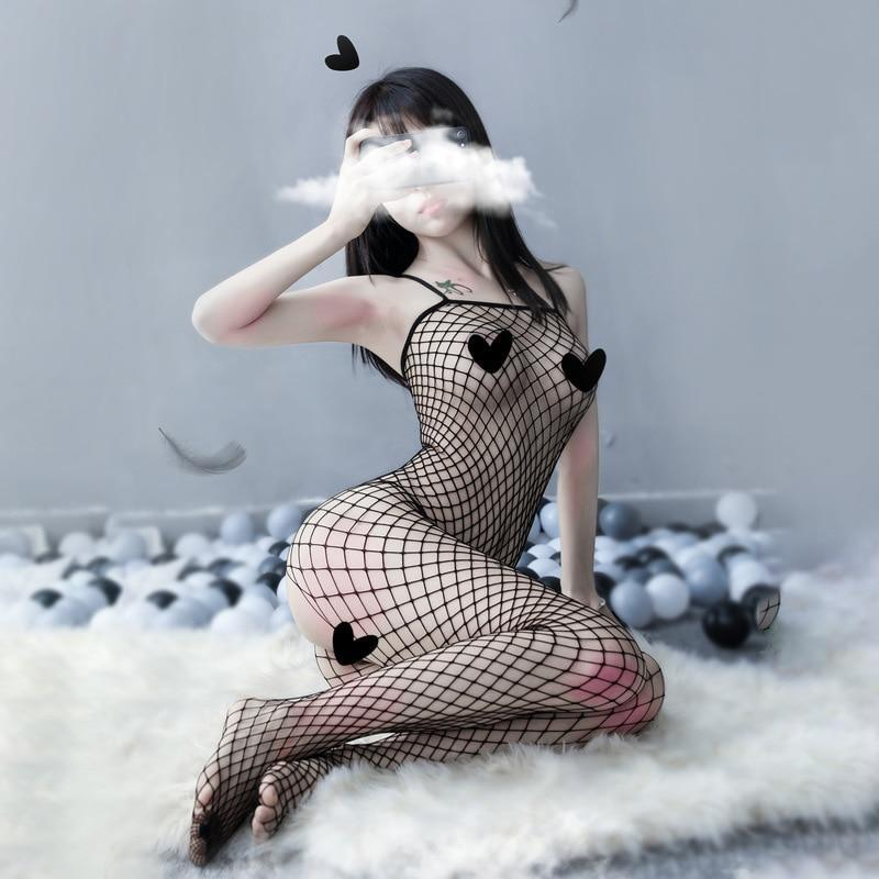 Babydoll Fishnet Bodysuit - bodystocking, bodysuit, catsuit, fishnet, fishnets
