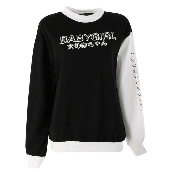 Black Babygirl Japanese Crewneck Sweater Sweatshirt Kawaii Fashion
