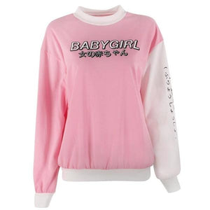 Pink White Babygirl Japanese Crewneck Sweater Sweatshirt Kawaii Fashion