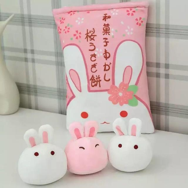 Bag Of Pink Bunnies - 3 Piece Mini Bunny Bag - stuffed animal