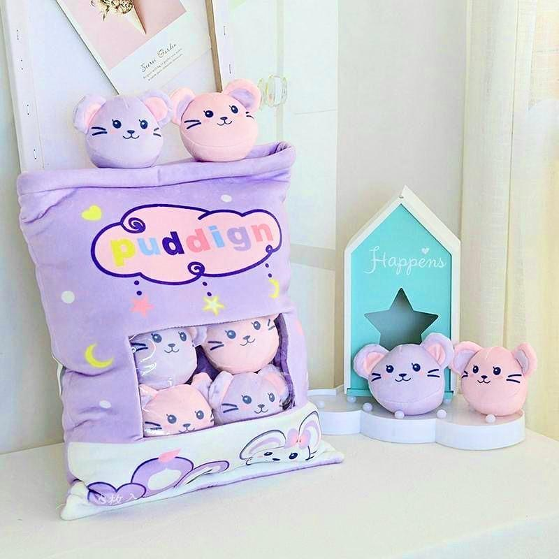 Bag Of Pastel Mice Plushies - fairy kei, hamster, hamsters, kawaii, mice