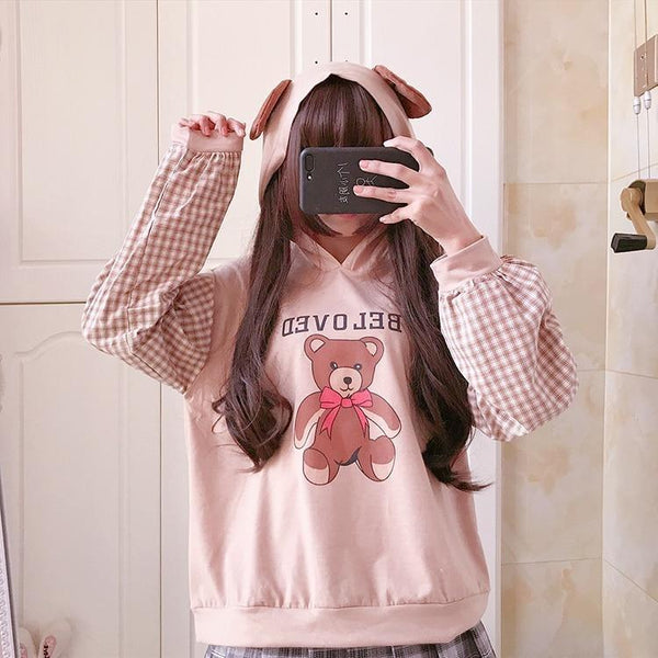 Beloved Bear Hoodie - Khaki / One Size - sweater